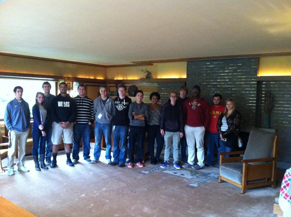 This is a picture of the architectural students inside the Meyer May House