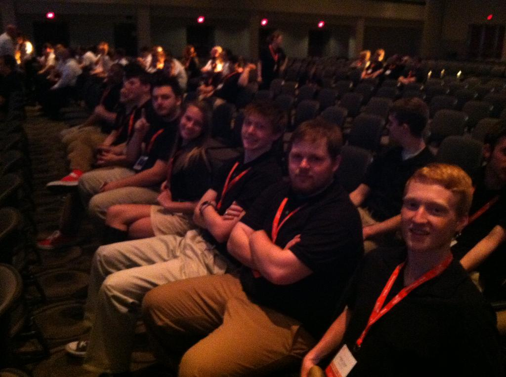 This is a picture of Architectural and Engineering competing students at the Michigan Skills USA state convention