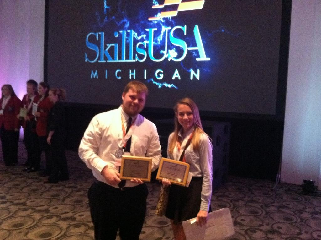 This is a picture of Jake Anderson and Sophia Luttke, two medal winners at the Skills USA state convention