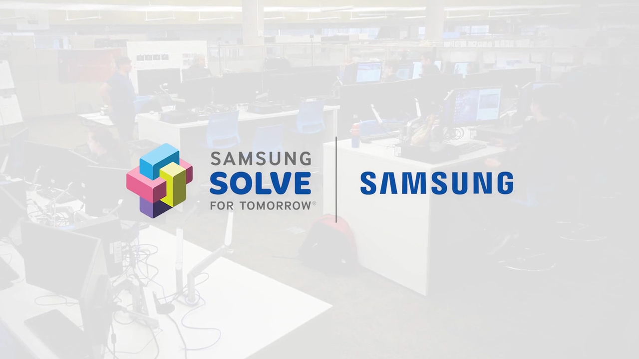 This image shows the Samsung Solve for Tomorrow logo on a with the 3D animation classroom in the background.