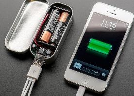 Battery-powered USB Phone Charger