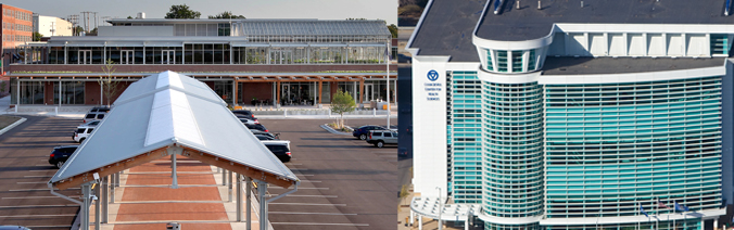 Composite photo of the Grand Rapids Downtown Market and the GVSU Cook DeVos building.