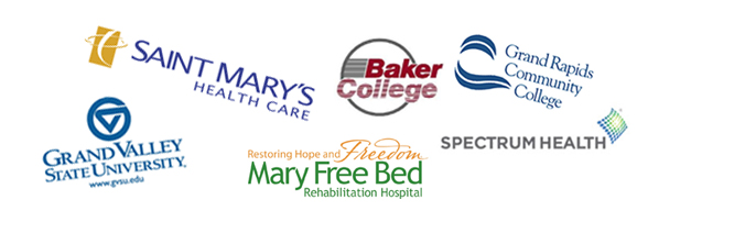 Partners include Saint Mary's Health Care, GVSU, Baker College, GRCC, Spectrum Health, Mary Free Bed