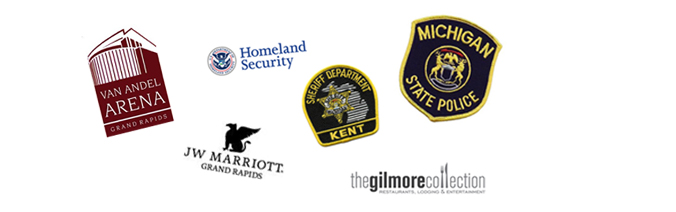 Partners include Van Andel Arena, Homeland Security, Michigan State Police, JW Marriot, The Gilmore Collection, Kent County Sherrif Dept