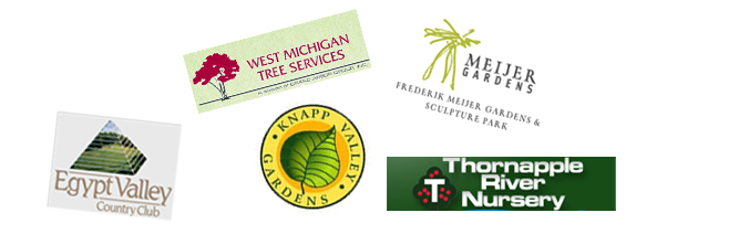 Partners include Meijer Gardens, Thornapple River Nursery, West Michigan Tree Service, Egypt valley Golf Course, Knap Valley Gardens